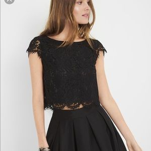 White House Black Market Tops - NWT WHBM Scalloped Lace Crop Top